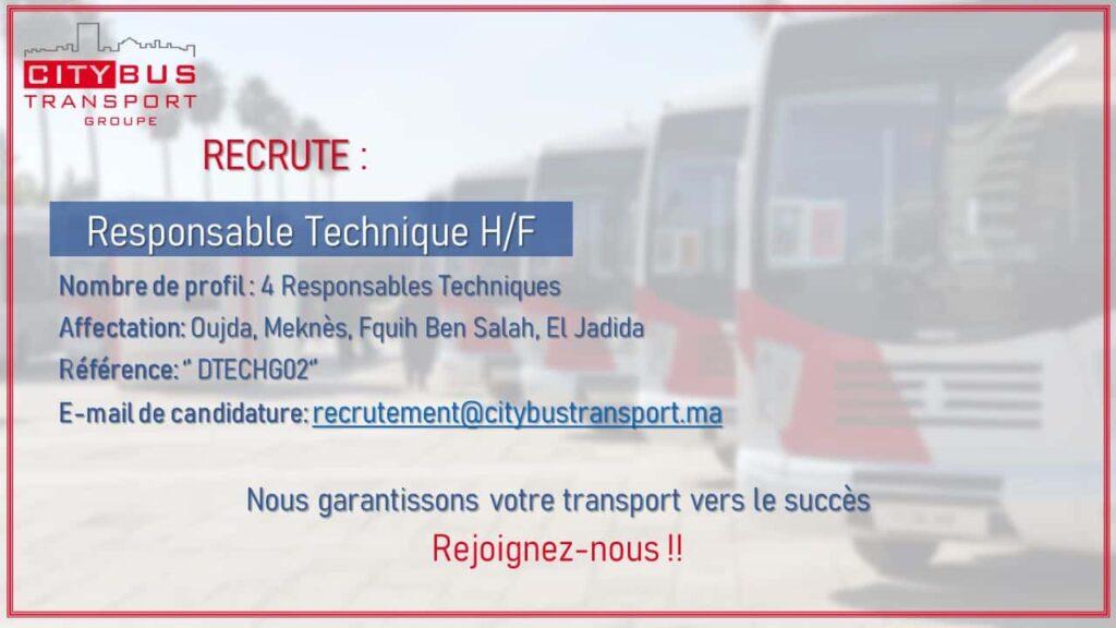 city bus emploi City Bus Transport Groupe Maroc recrute des Responsables Techniques sur Plusieurs Villes